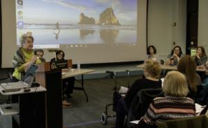 Gretchen Klimoski describing her volunteer services